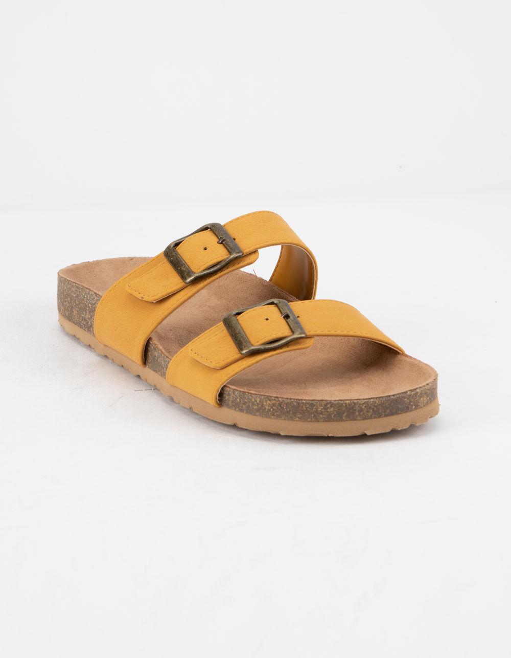 SODA Double Buckle Mustard Slide Sandals