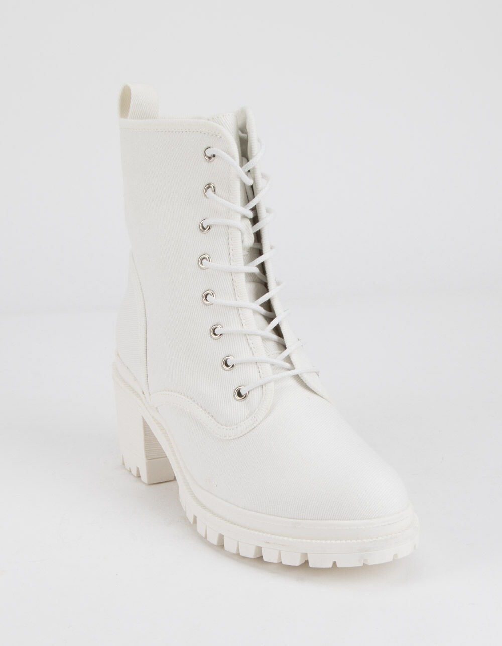 WILD DIVA Canvas Lace Up Lug Sole White Boots