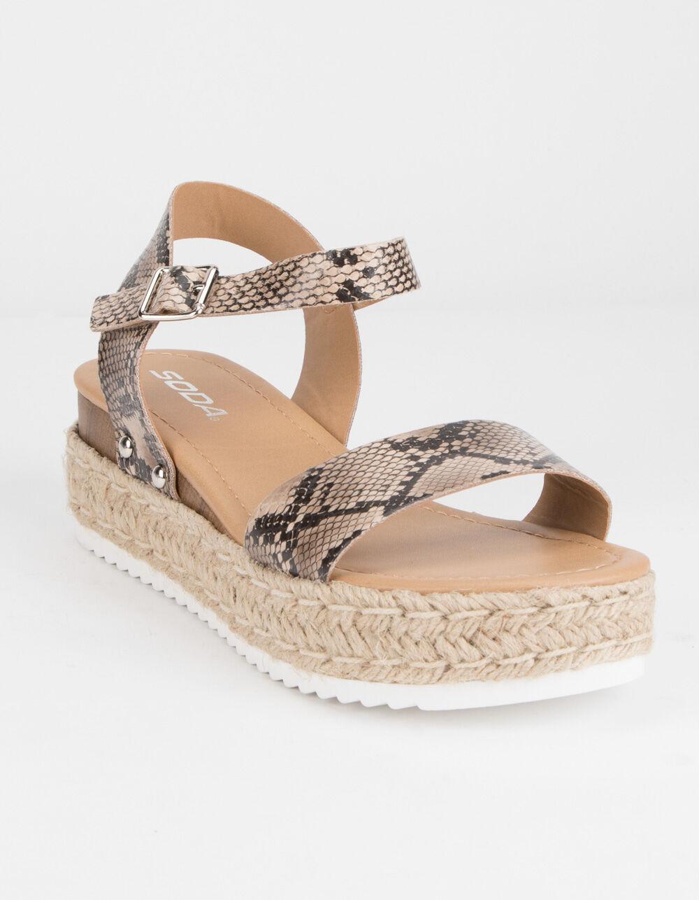 SODA Clip Espadrille Snake Platform Sandals