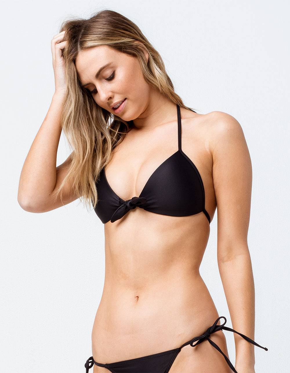 FULL TILT Tie Front Push Up Black Bikini Top