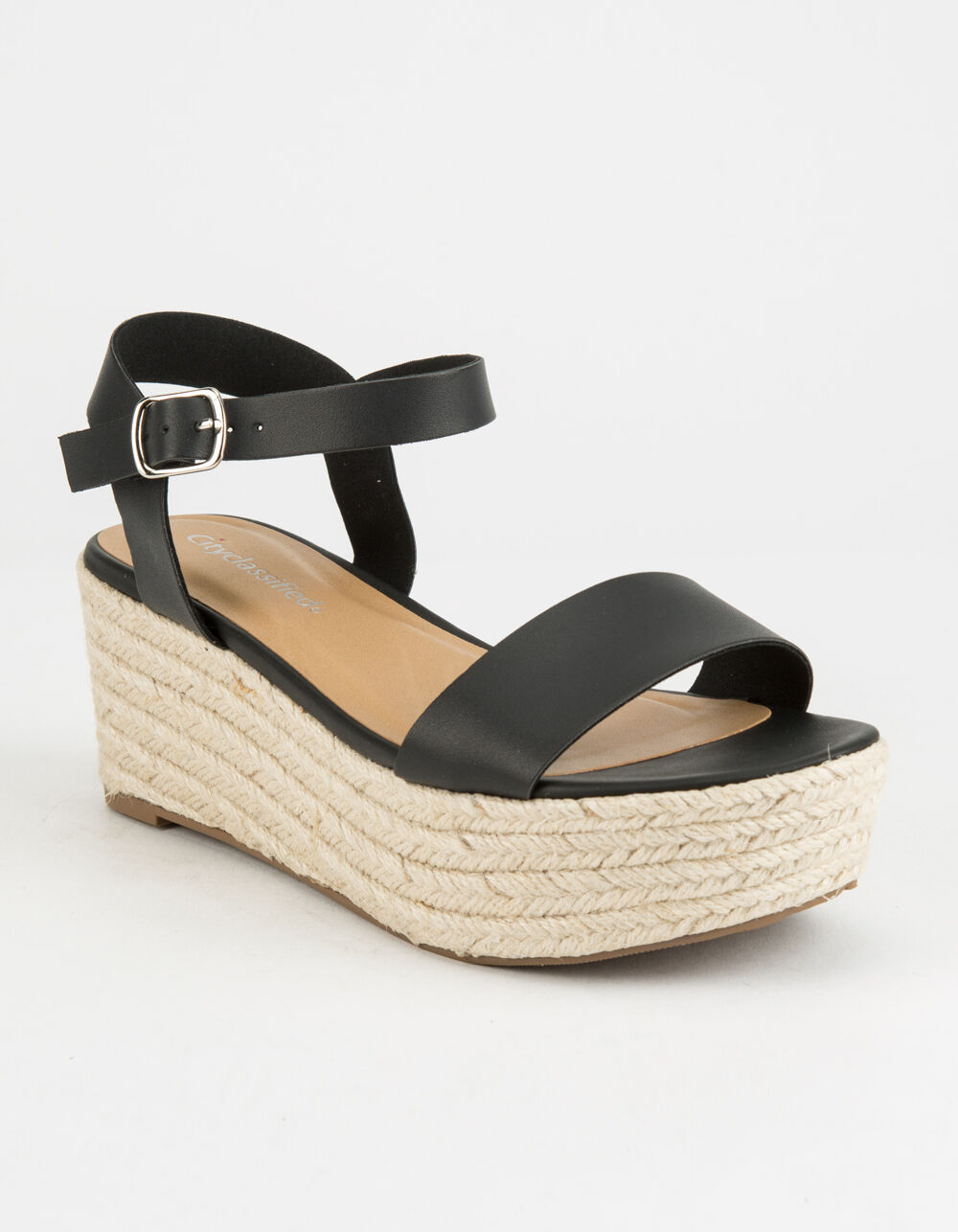 CITY CLASSIFIED Espadrille Black Platform Sandals