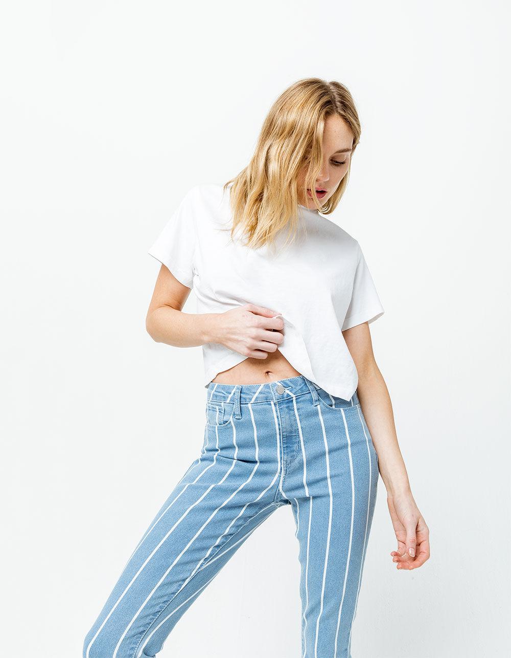 RSQ Cali High Rise Ankle Stripe Skinny Jeans