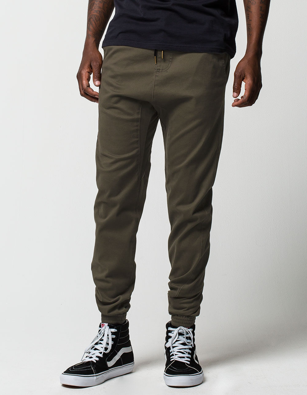 CHARLES AND A HALF Olive Twill Jogger Pants