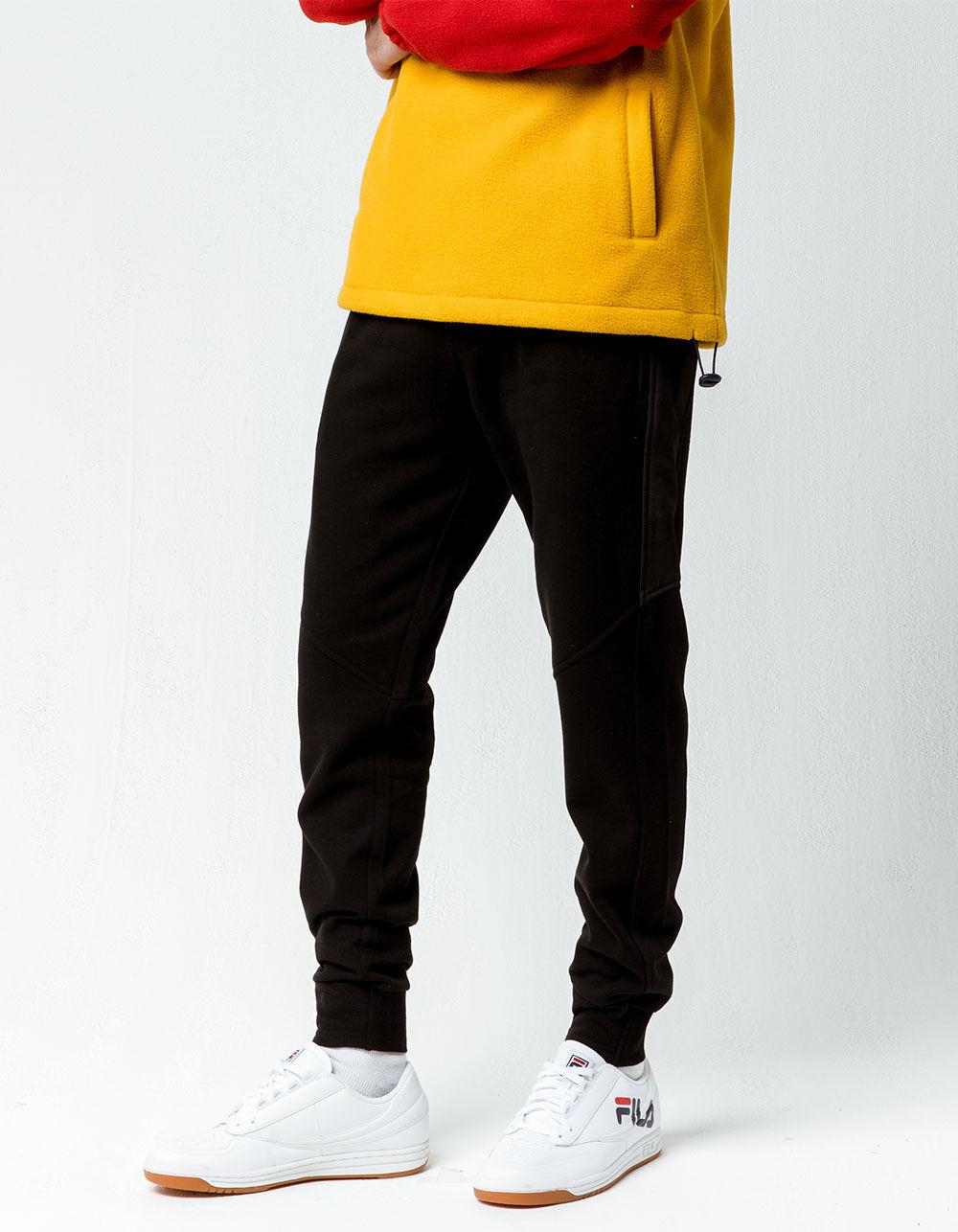 Image of BROOKLYN CLOTH NYLON BLACK STREAK BLACK JOGGER PANTS