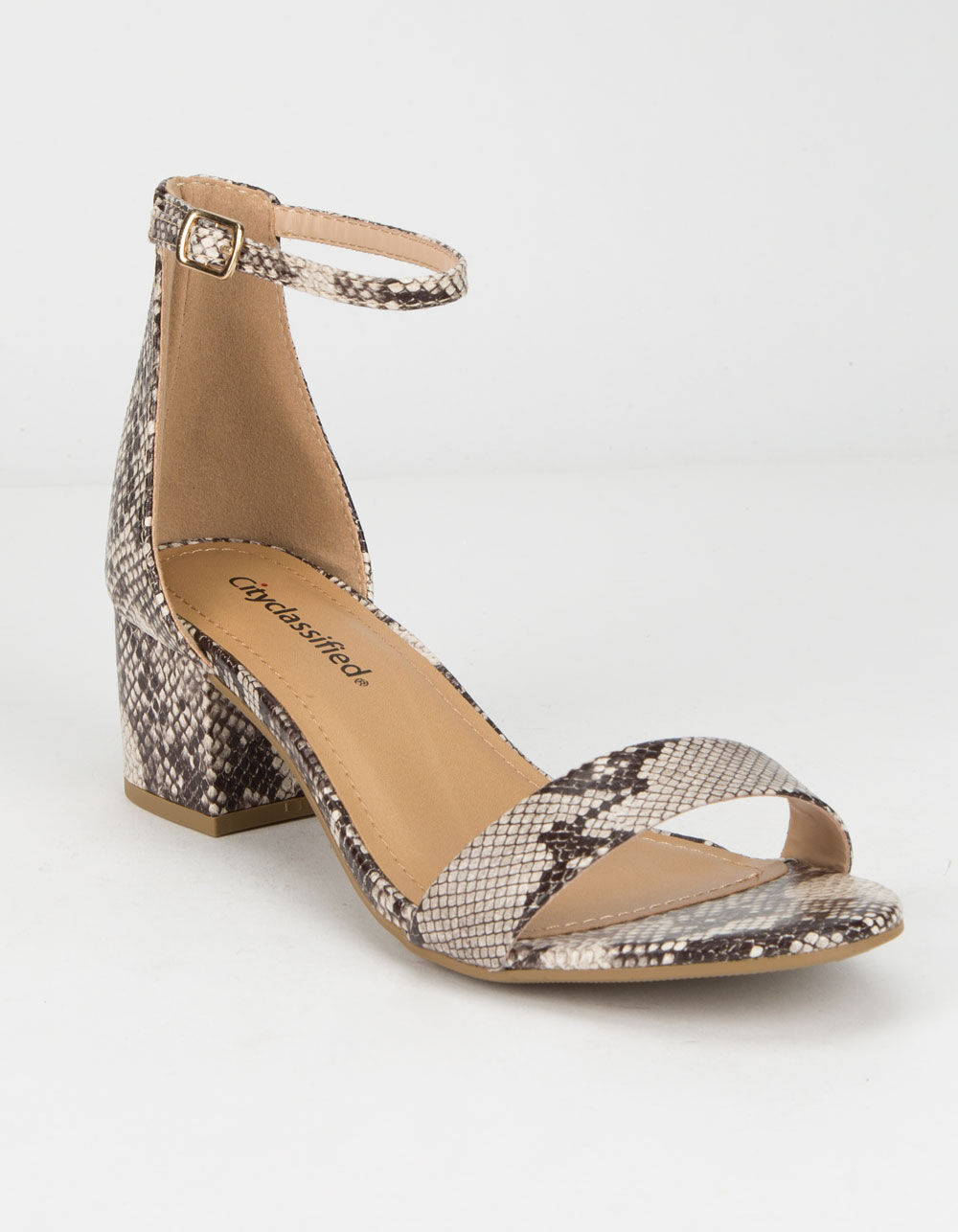 CITY CLASSIFIED Weekend Snake Heeled Sandals