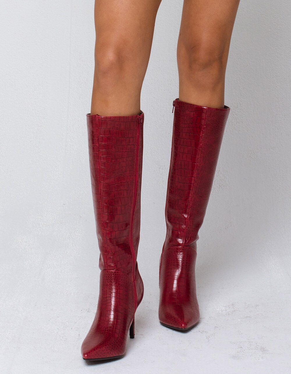 DELICIOUS Crocodile Knee High Red Boots