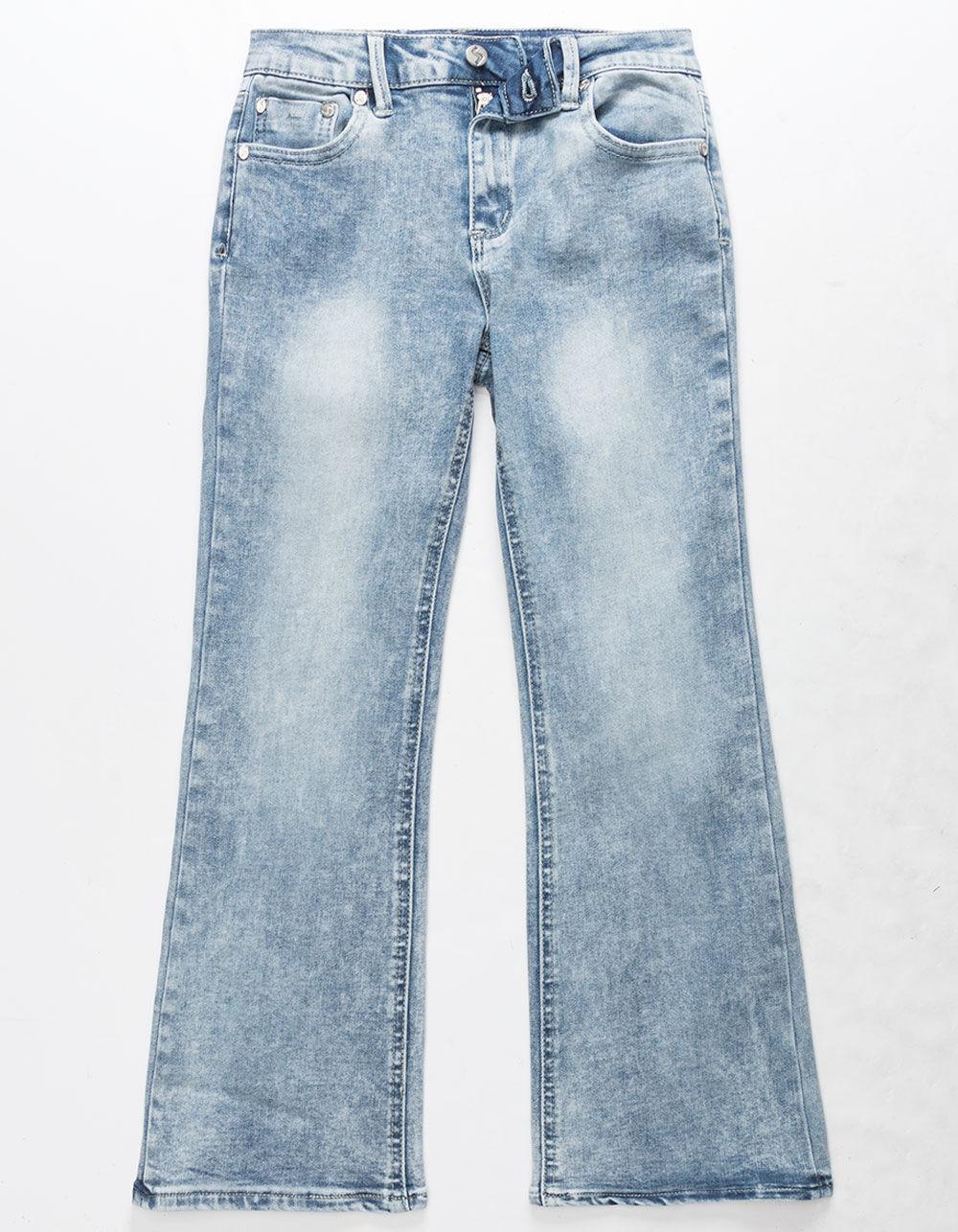 SCISSOR Crop Light Wash Girls Flare Jeans