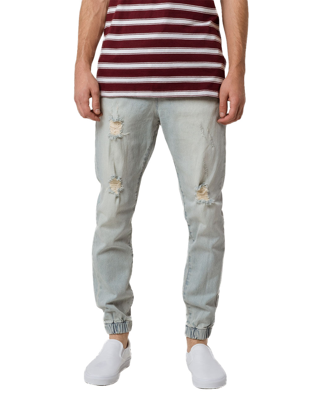 Image of EAST POINTE DAMIEN DENIM RIPPED JOGGER PANTS