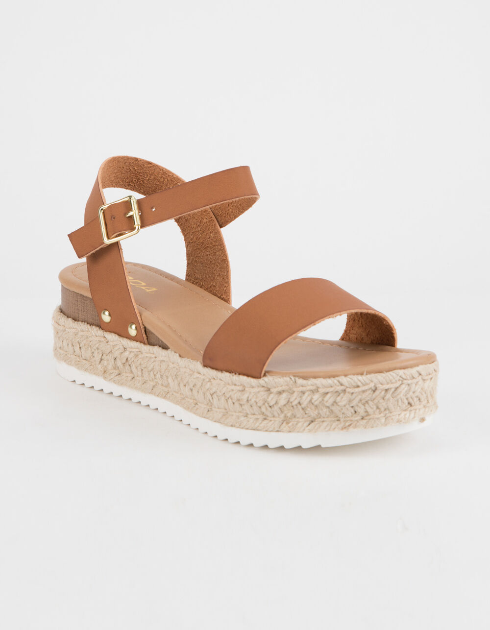 SODA Clip Tan Espadrille Flatform Sandals