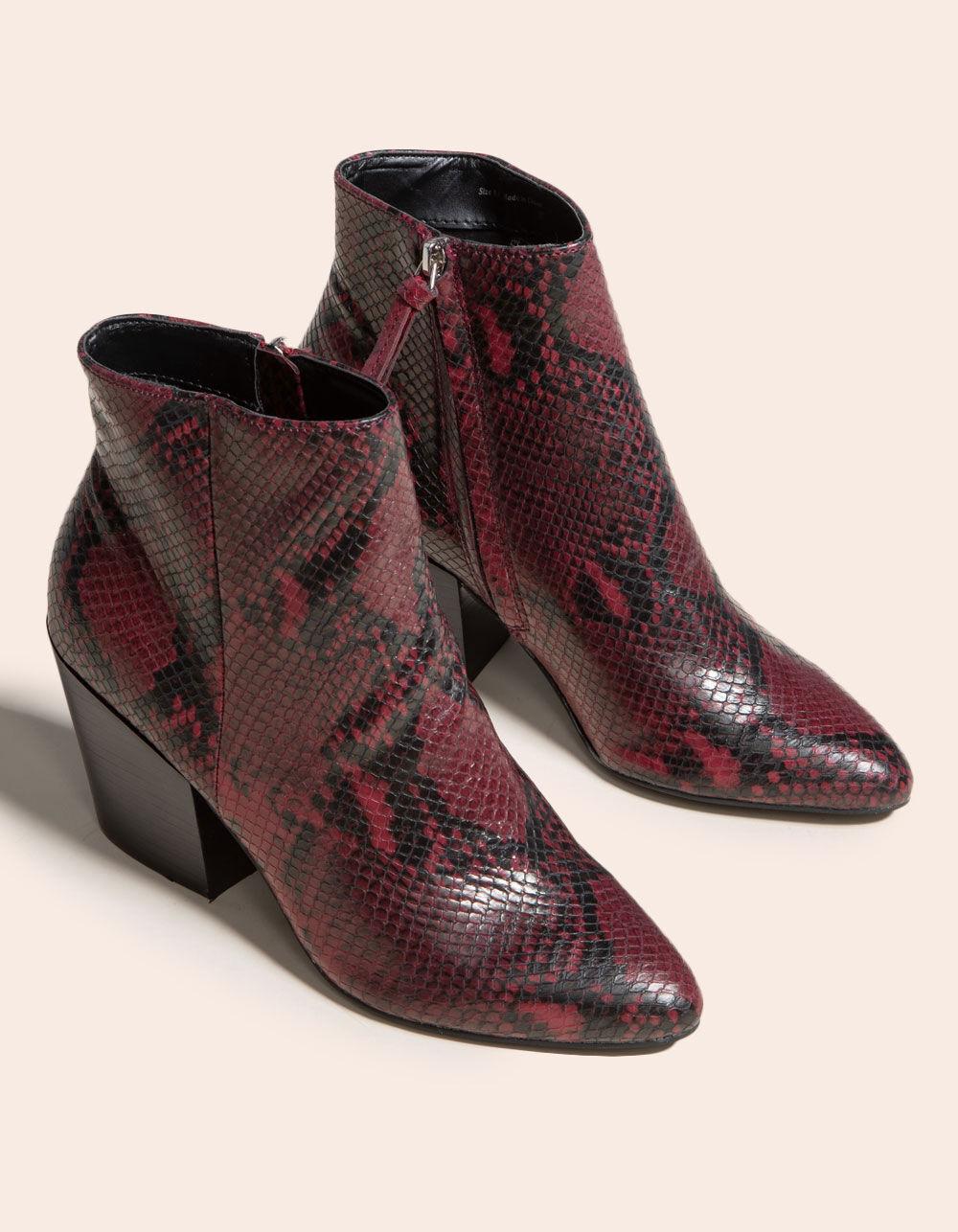DOLCE VITA Perilla Snake Block Heel Red Booties