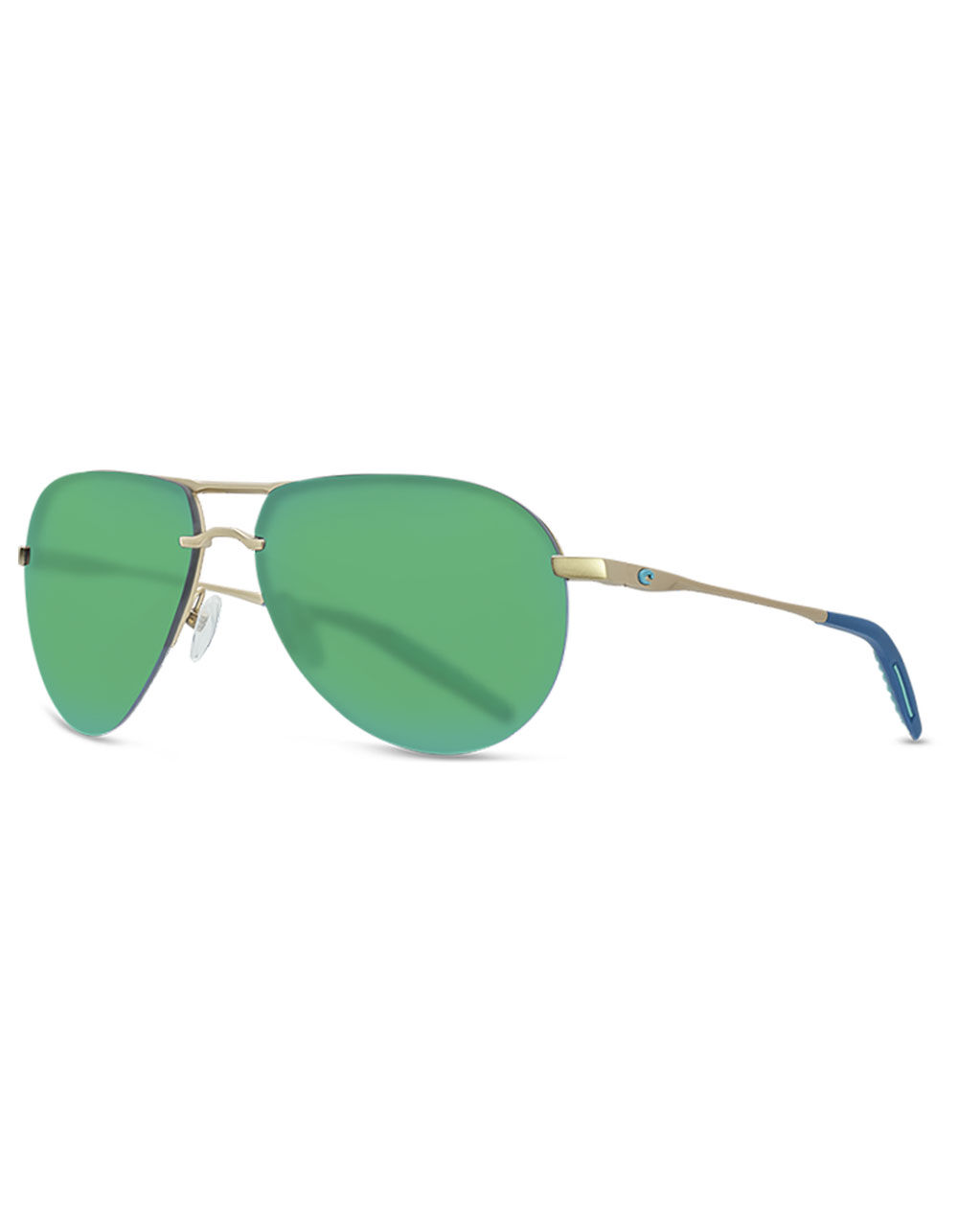 Image of COSTA HELO MATTE CHAMPAGNE & DEEP BLUE TURQUOISE SUNGLASSES