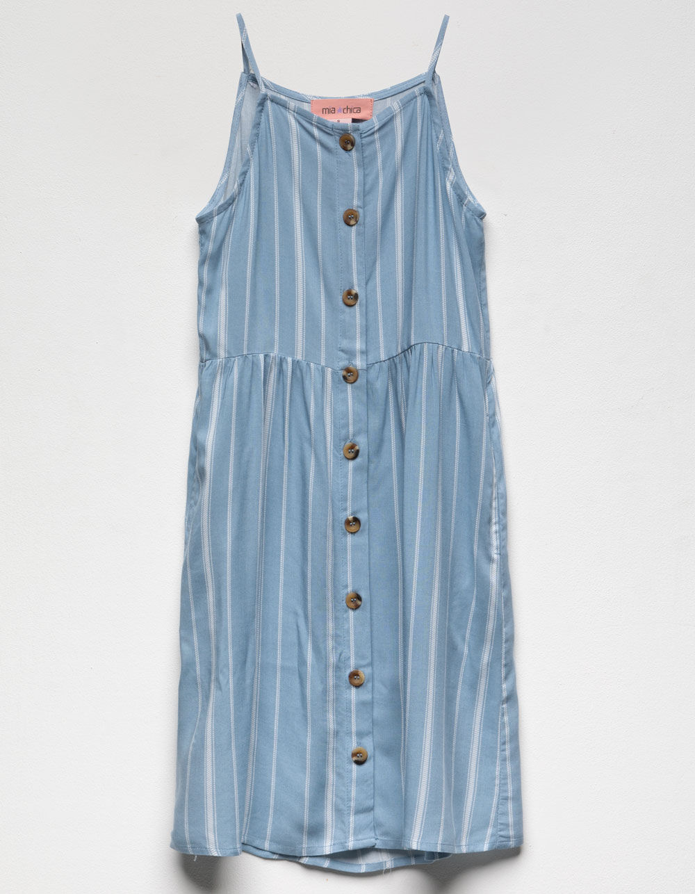 Image of MIA CHICA STRIPE BUTTON FRONT HIGH NECK GIRLS DRESS