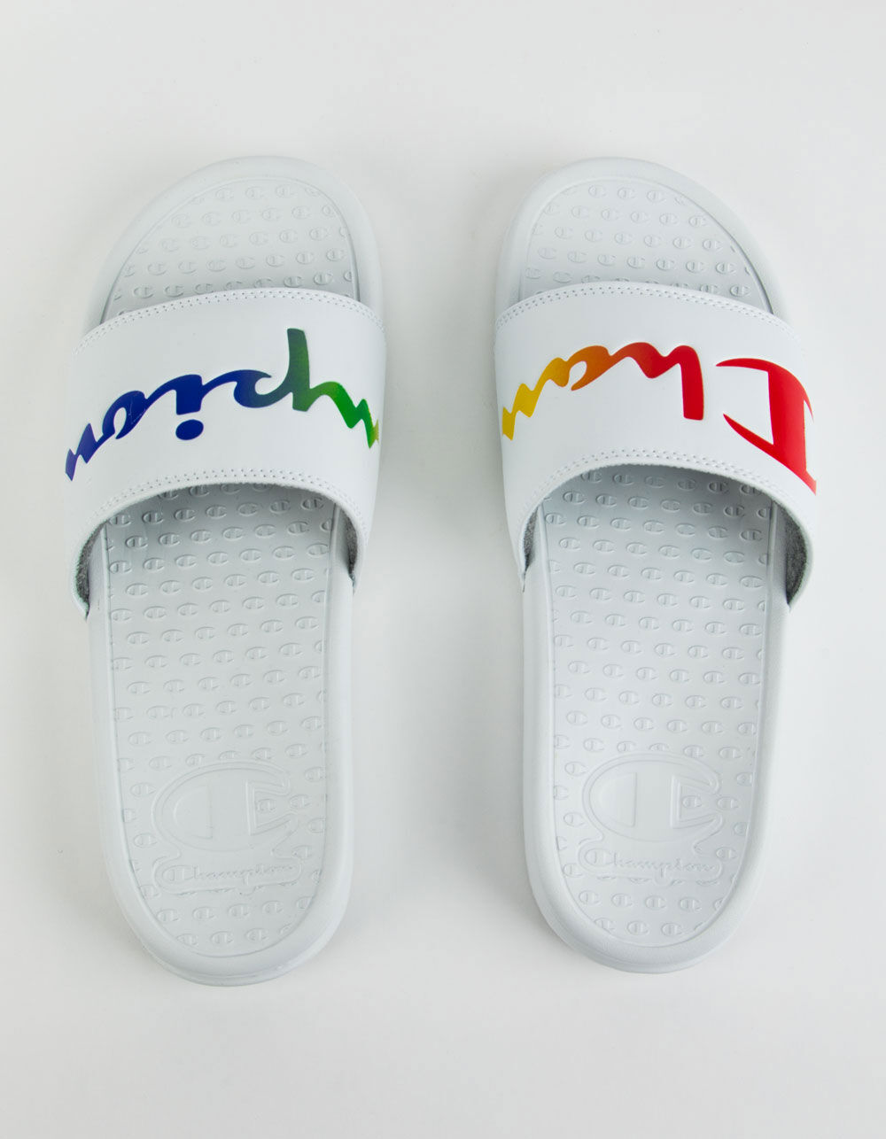 CHAMPION Super Slide Split Script White & Rainbow Sandals