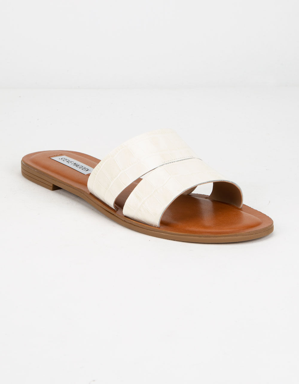 STEVE MADDEN Alexandra White Crocodile Sandals