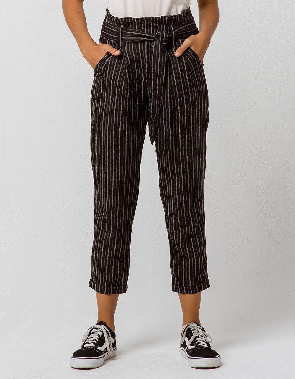 INDIGO REIN Stripe Paperbag Waist Black & White Trouser Pants