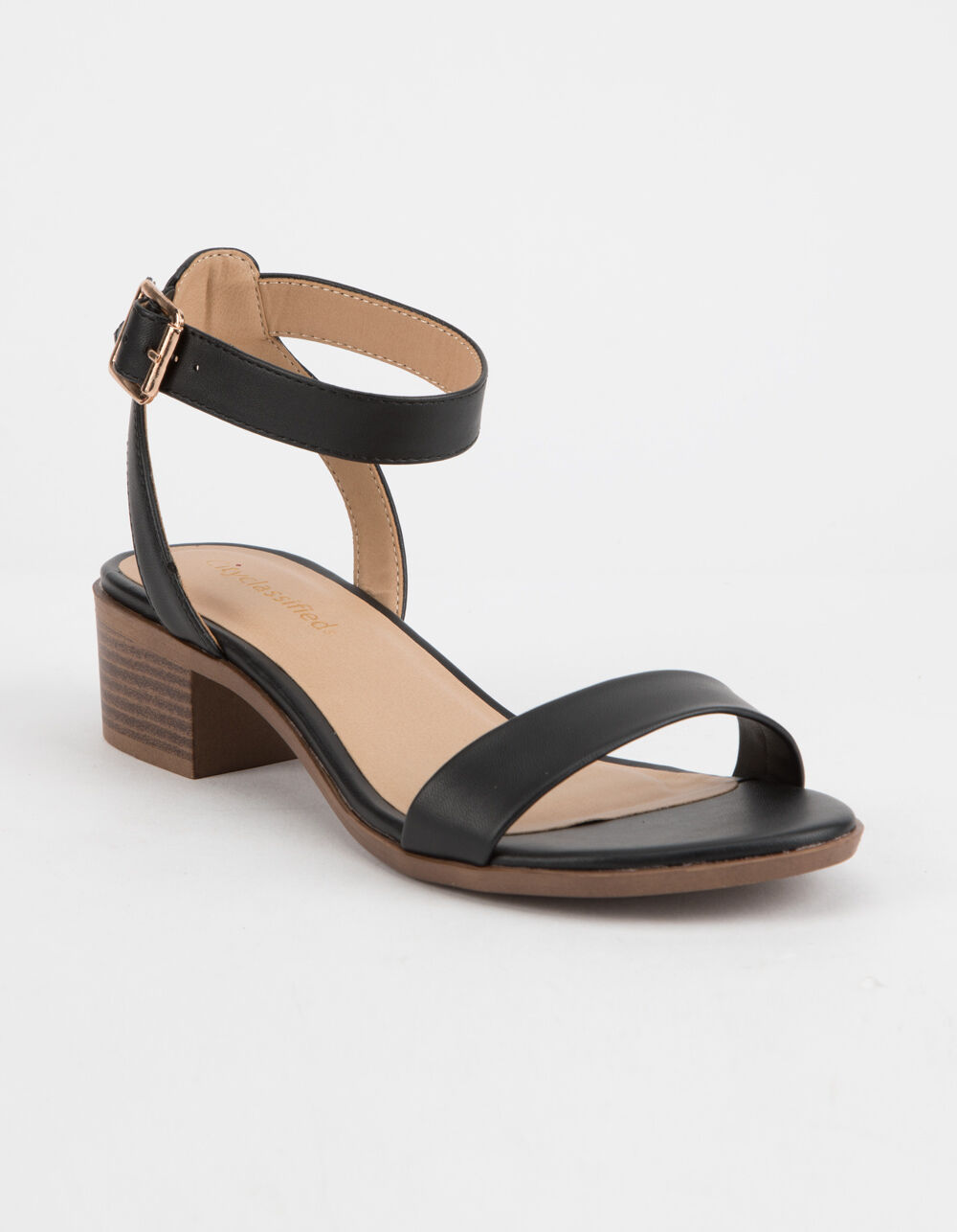 Image of CITY CLASSIFIED ANKLE STRAP BLACK HEELED SANDALS