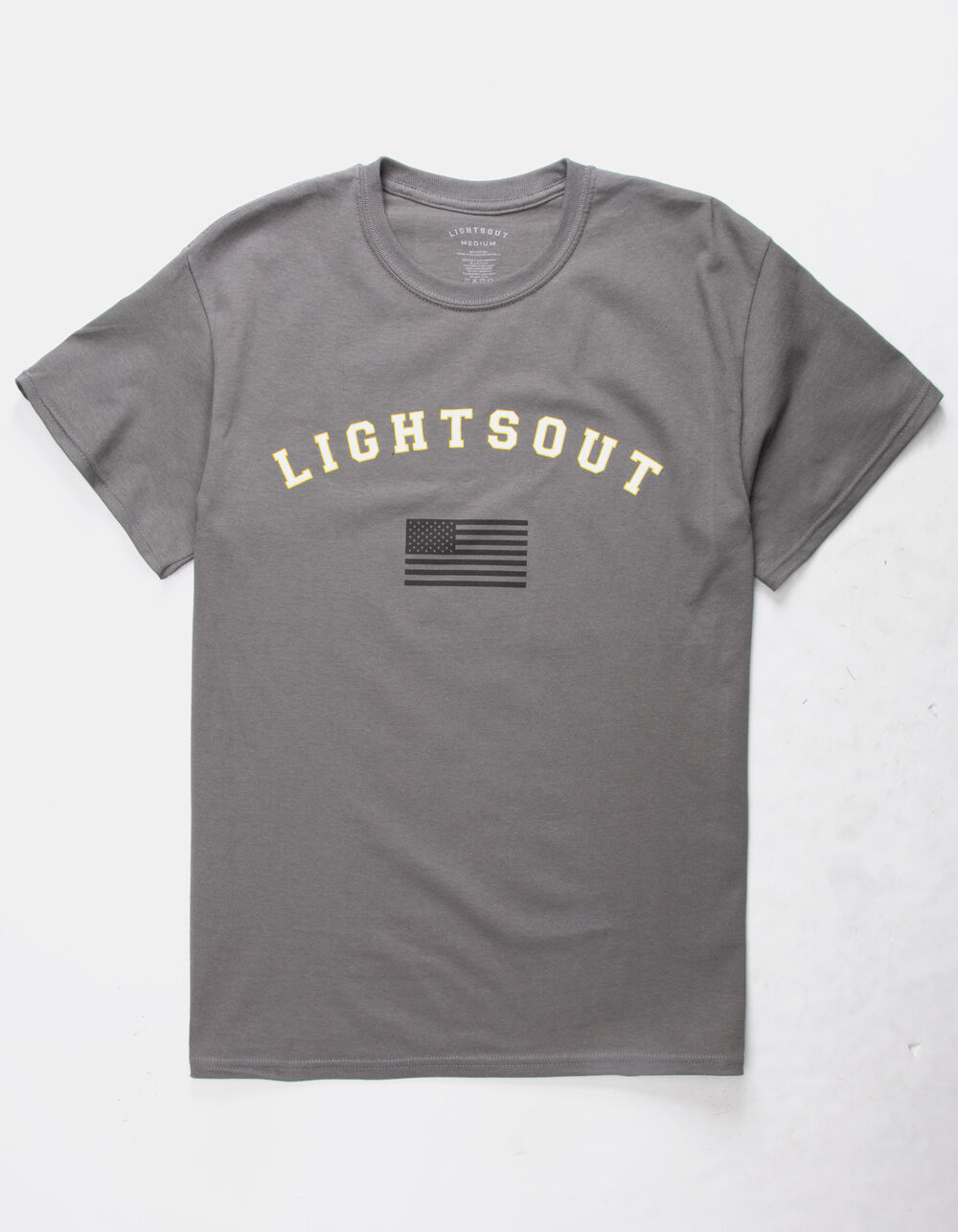 Image of LIGHTS OUT MILITARY LIGHTS CHARCOAL T-SHIRT