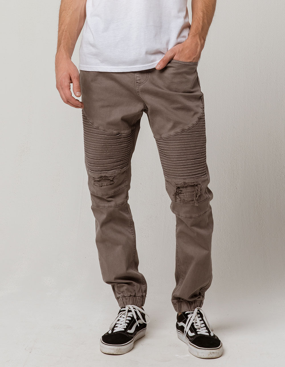 EAST POINTE Moto Destruction Denim Jogger Pants