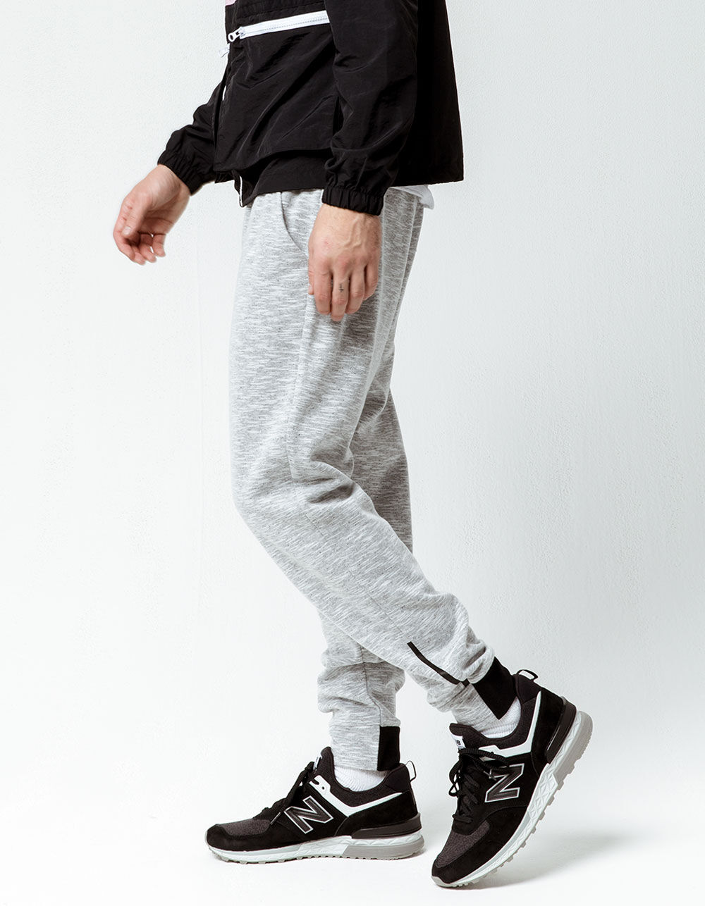 Image of BROOKLYN CLOTH SPACE DYE MARLED LIGHT GRAY JOGGER PANTS