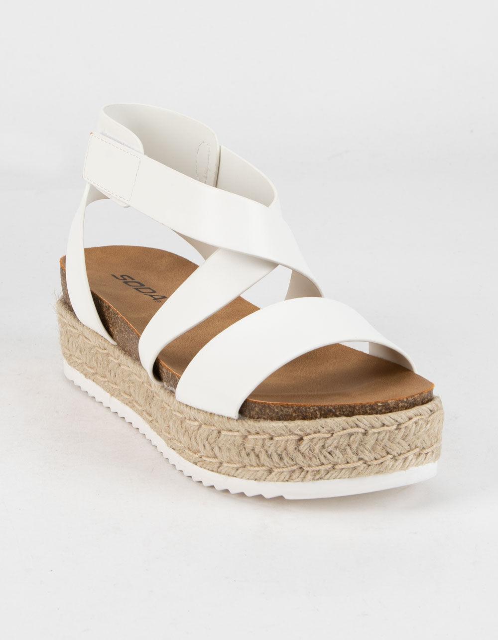 SODA SODA Ankle Banded White Platform
