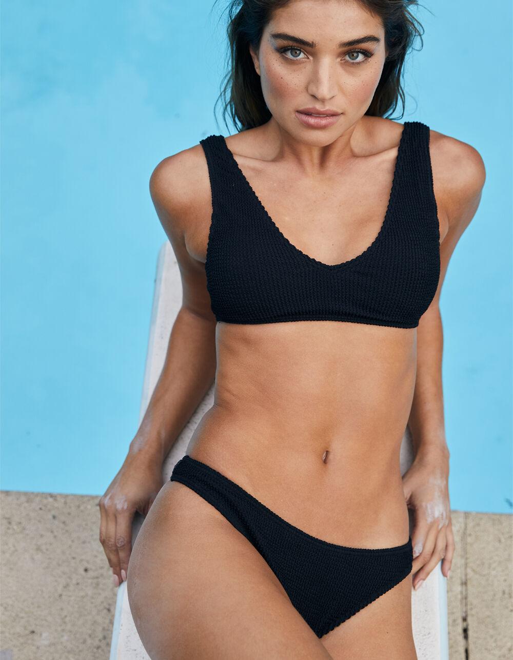 FULL TILT Textured Black Super Cheeky Bikini Bottoms