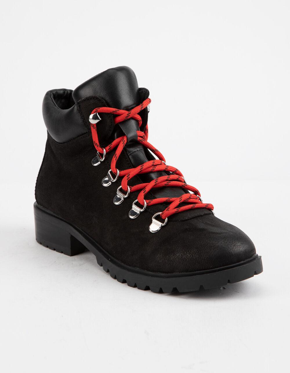 STEVE MADDEN Lora Black Patent Combat Boots