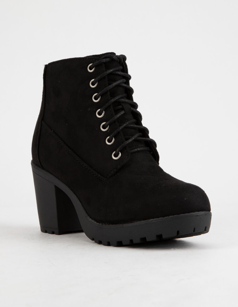 SODA Lug Sole Lace Up Black Booties