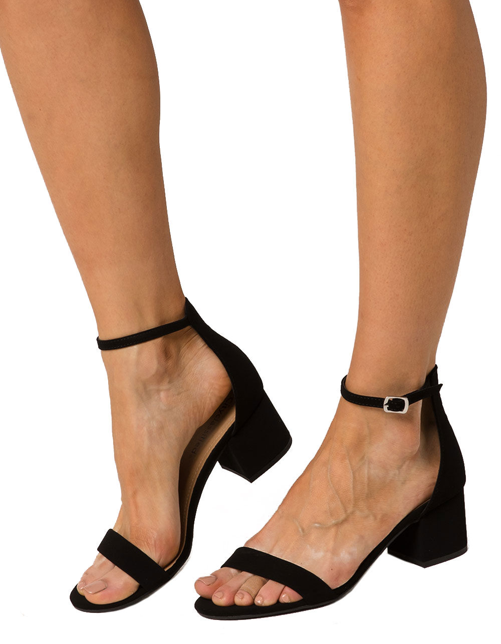 CITY CLASSIFIED MICROSUEDE HEELED SANDALS