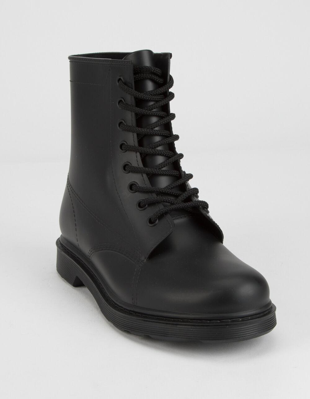 QUPID PVC Lace-Up Combat Boots