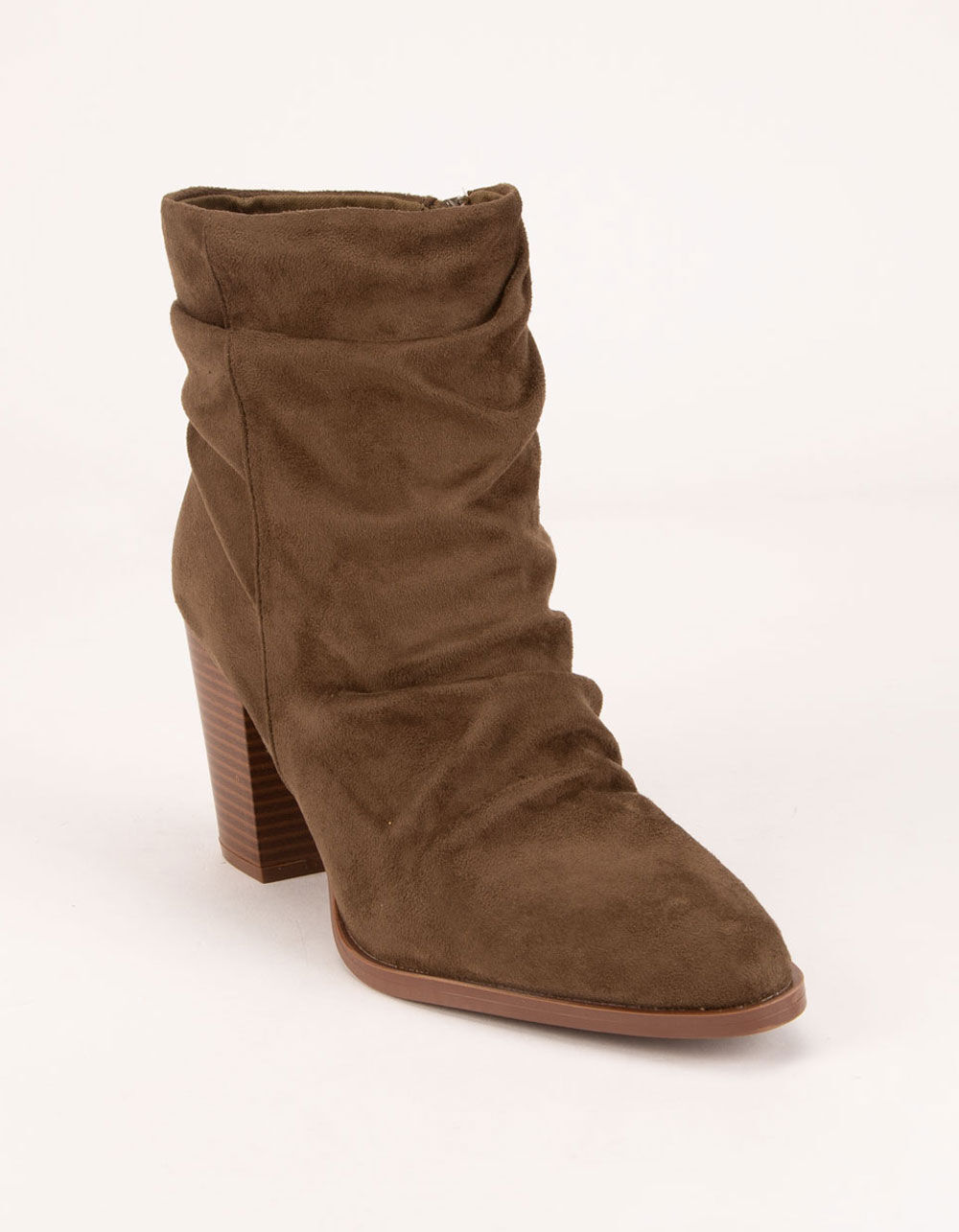QUPID Ruched Khaki Booties