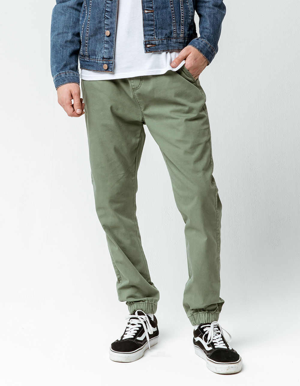 CYA Side Stripe Olive Joggers Pants