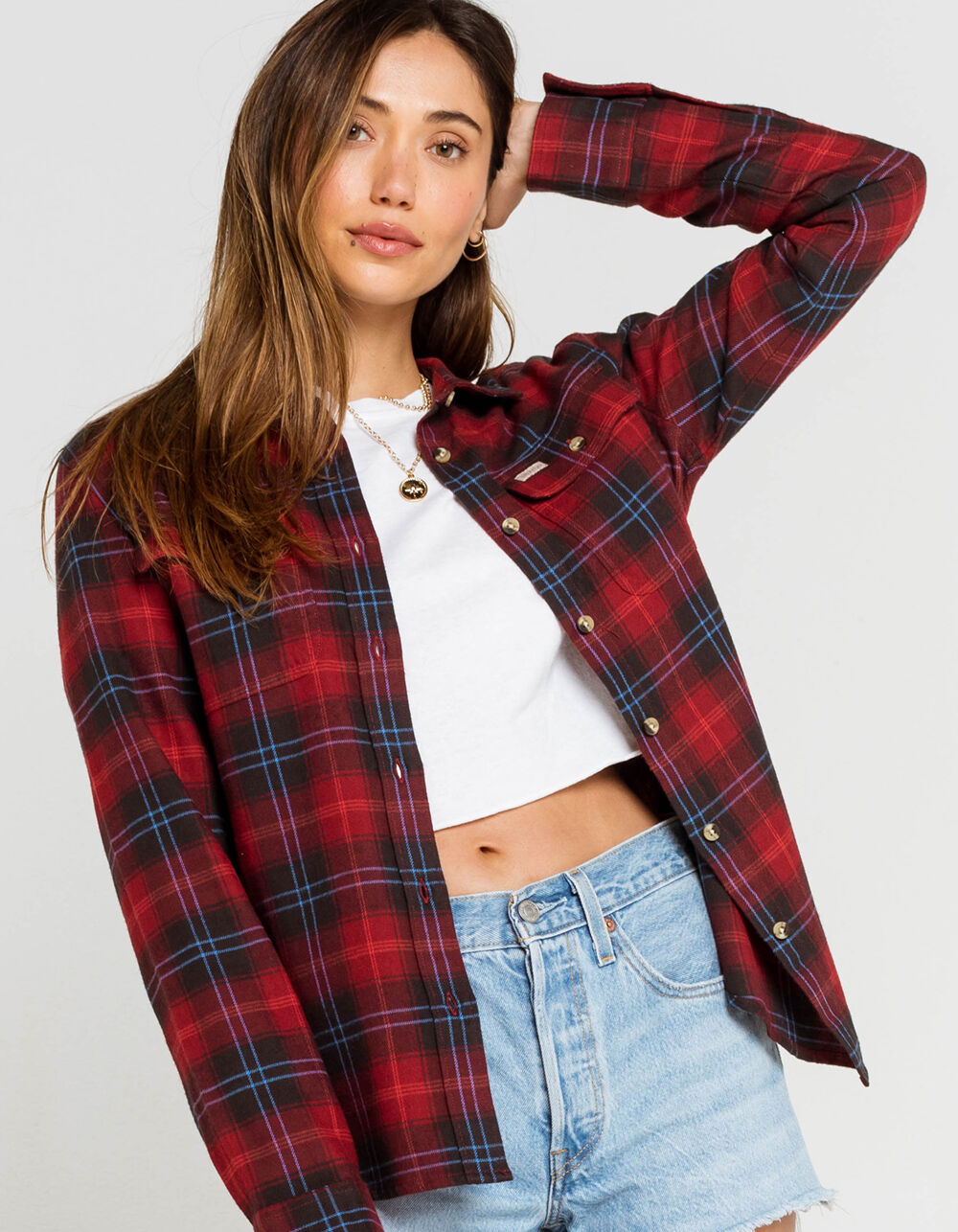 BRIXTON Bowery Red Flannel Shirt