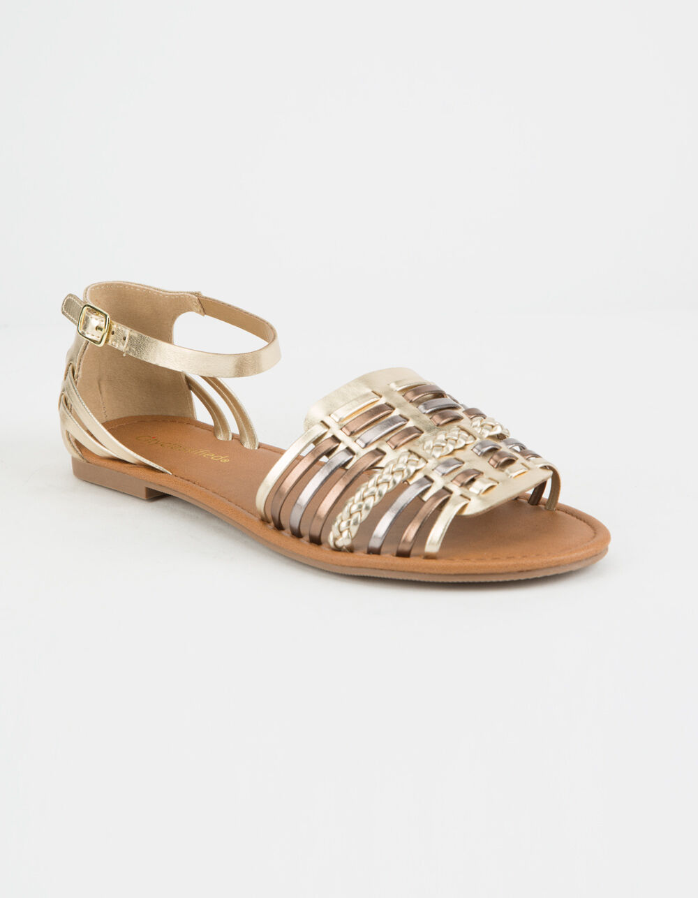 CITY CLASSIFIED WOVEN BASKET WEAVE GOLD SANDALS
