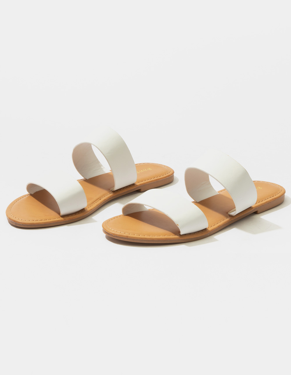 BAMBOO Double Strap White Sandals