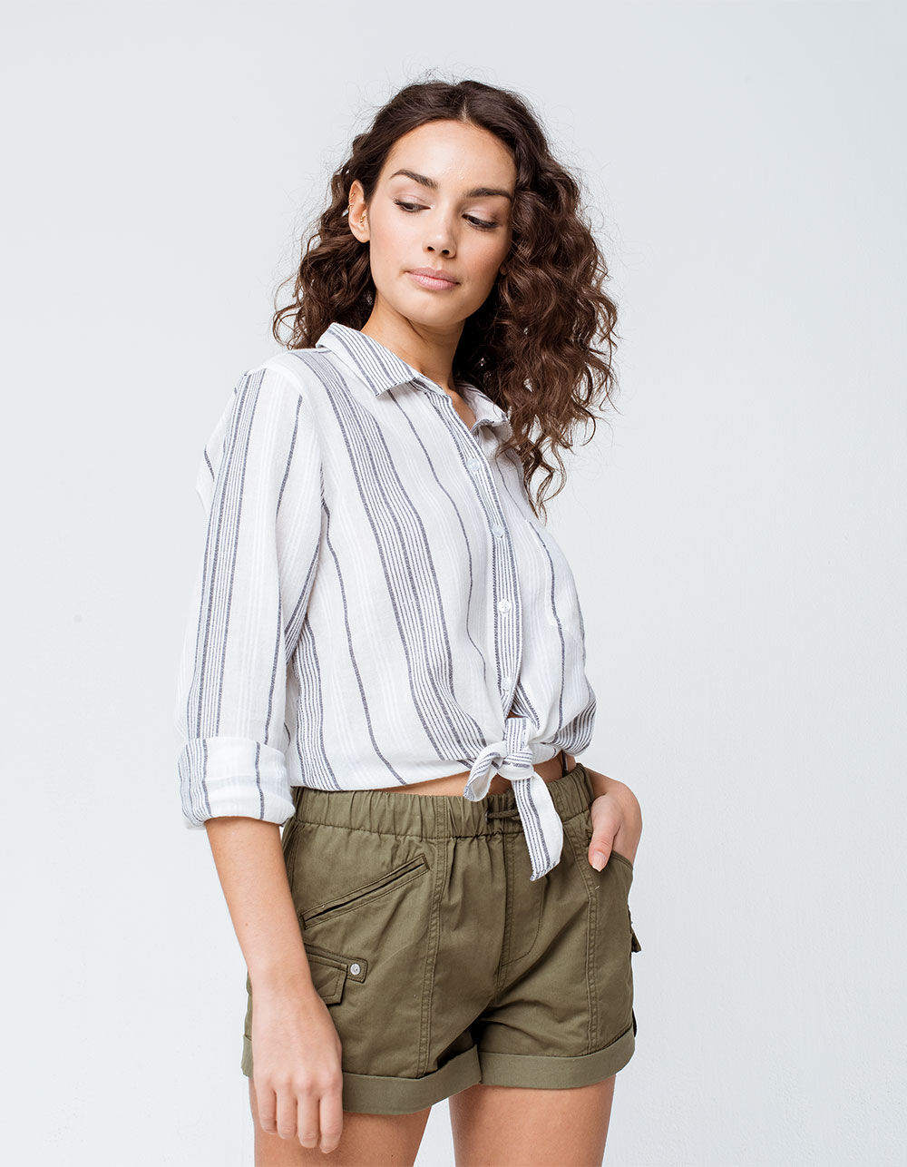 SKY AND SPARROW Textured Stripe Button Front Top