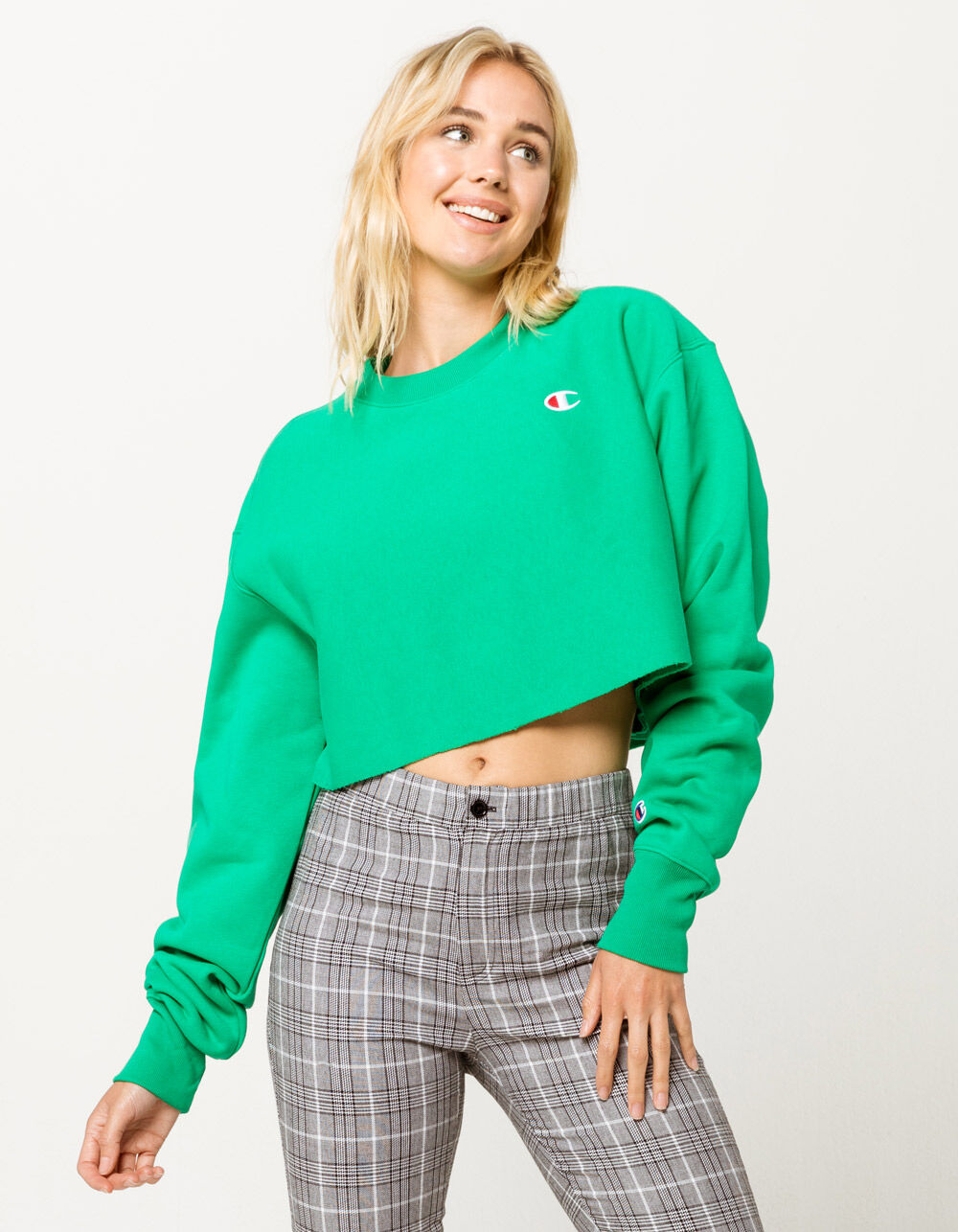 CHAMPION Reverse Weave Green Crop Sweatshirt