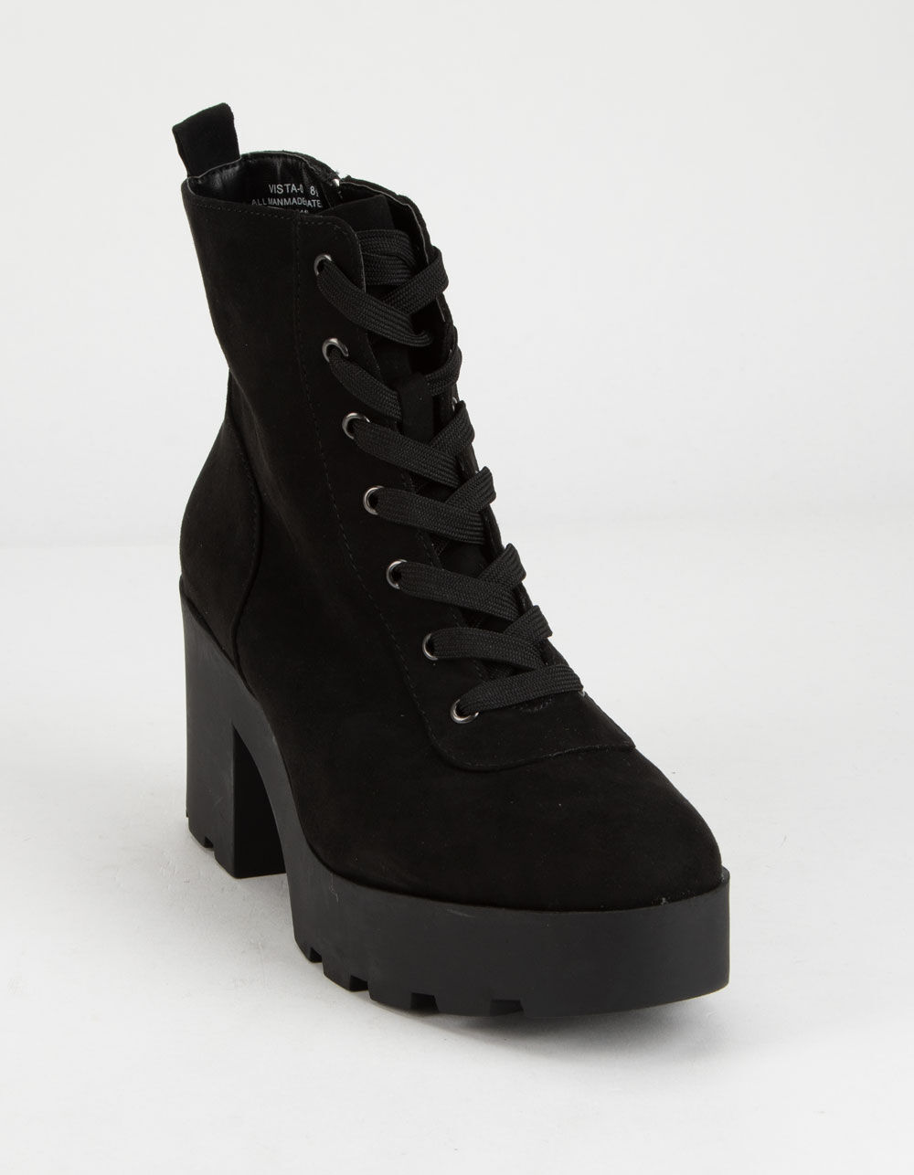BAMBOO Chunky Lug Sole Lace Up Black Boots