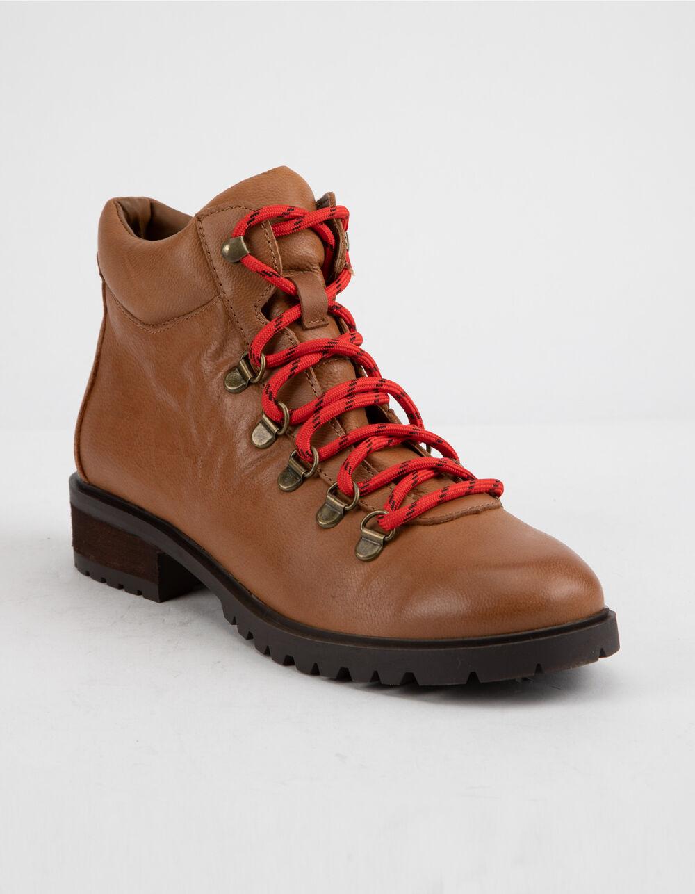 STEVE MADDEN Lora Cognac Leather Combat Boots