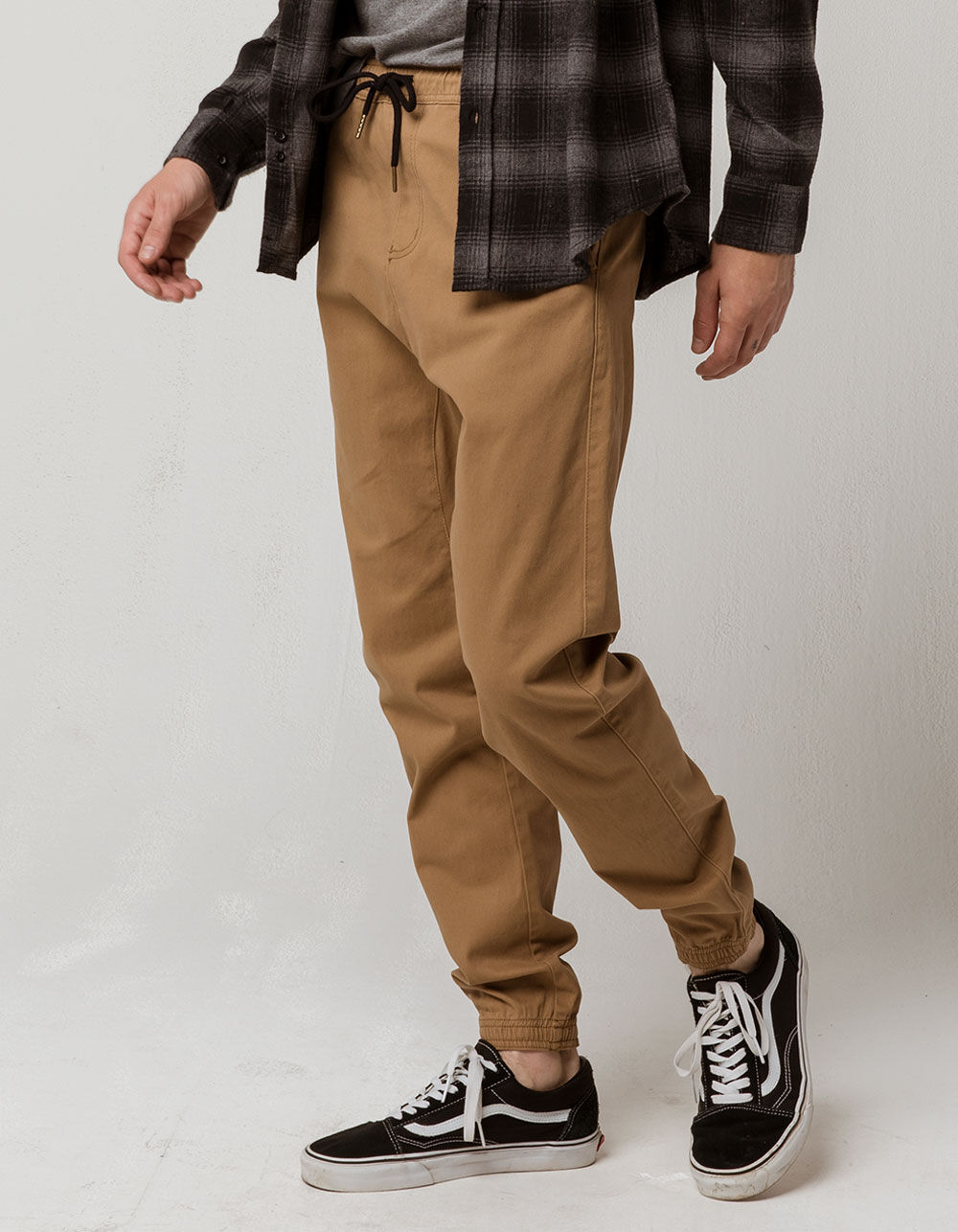 CHARLES AND A HALF Tan Twill Jogger Pants