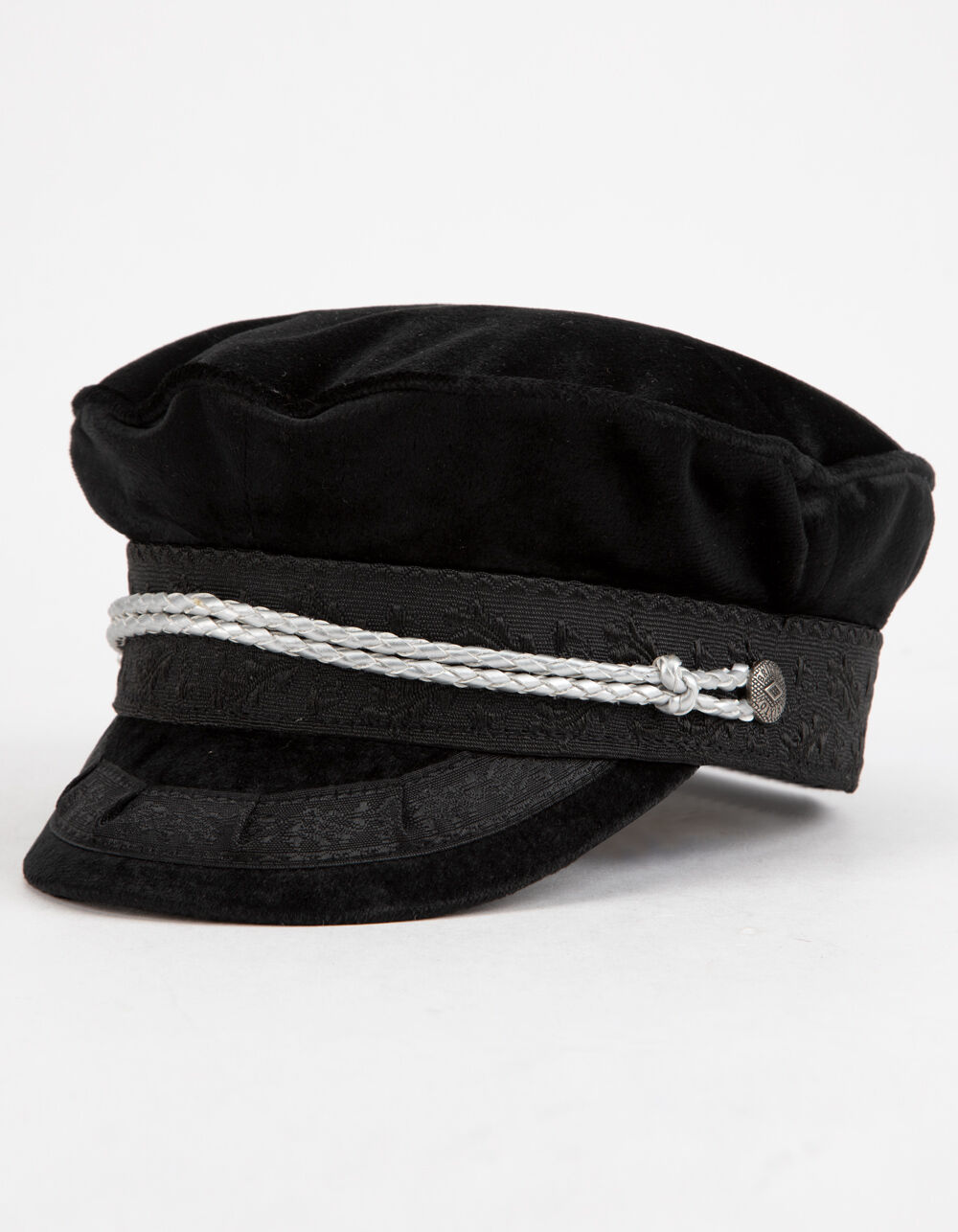 Image of BRIXTON ALBANY BLACK & SILVER FIDDLER CAP