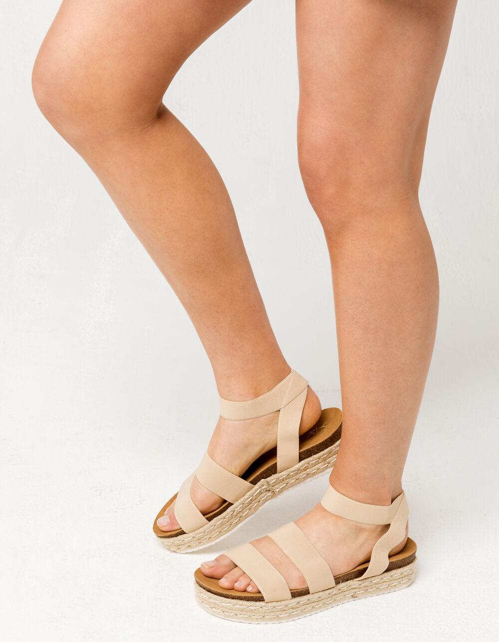 YOKI Chiara Beige Espadrille Flatform Sandals