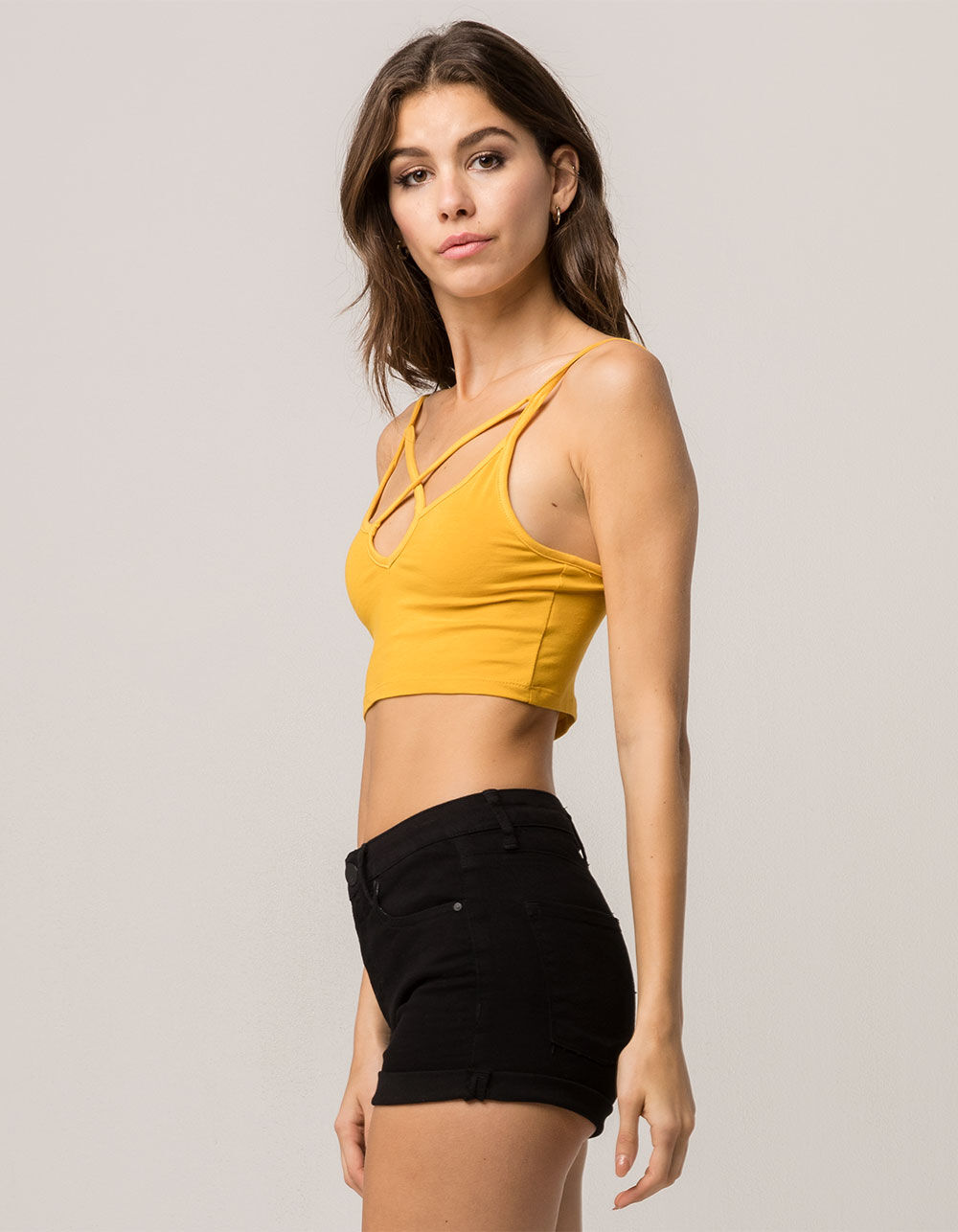 Image of AMBIANCE CROSS FRONT MUSTARD CROP CAMI