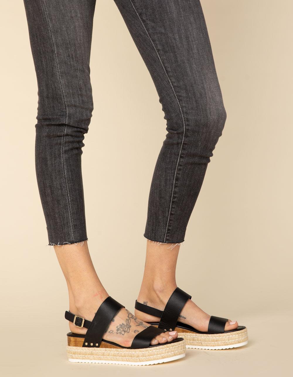 STEVE MADDEN Catia Black Espadrille Flatform Sandals