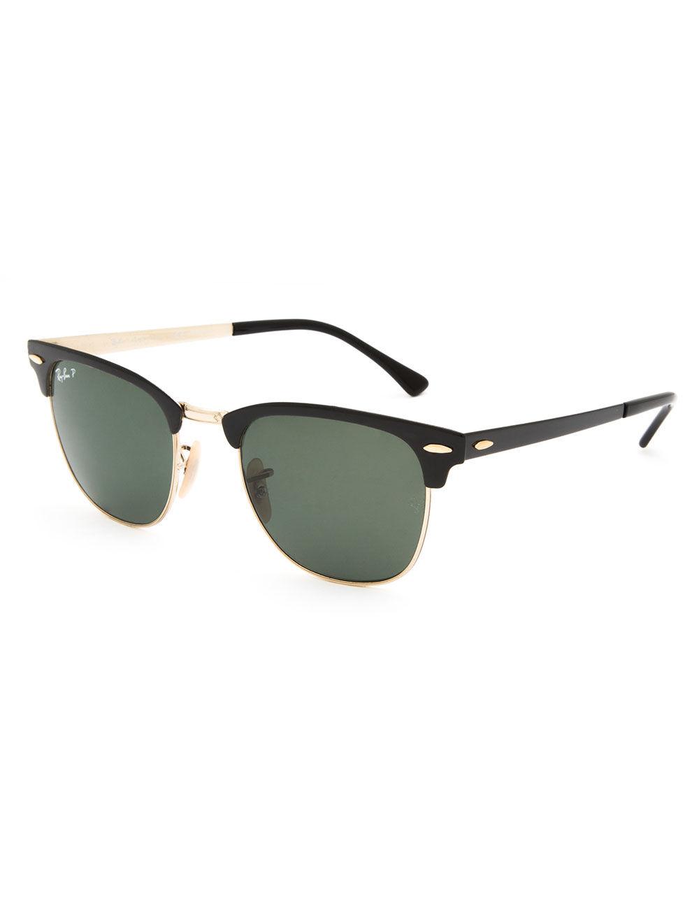 RAY-BAN Clubmaster Metal Black & Green Classic Polarized Sunglasses