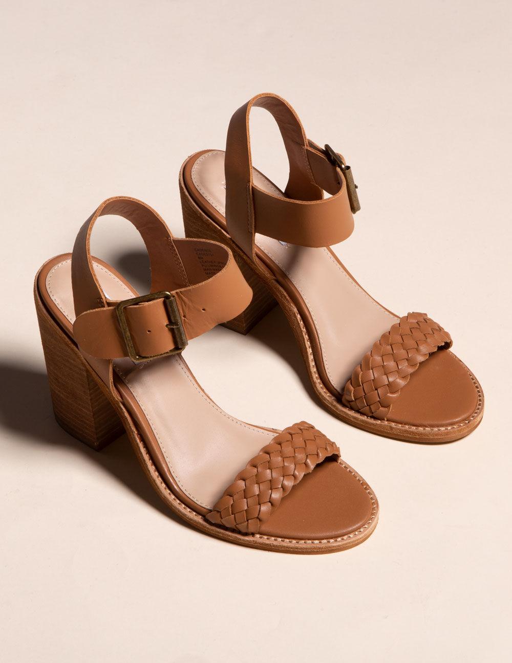 STEVE MADDEN Cadence Cognac Leather Heeled Sandals