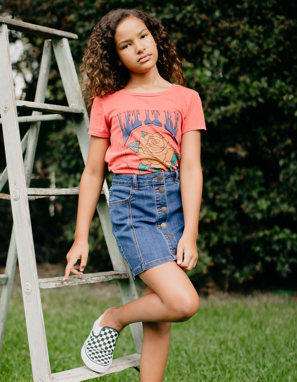 Image of ALMOST FAMOUS Button Front Dark Wash Girls Denim Skirt