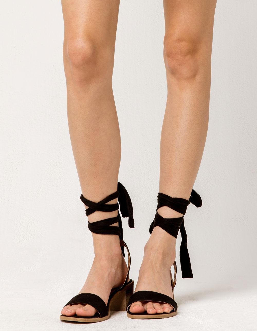WILD DIVA Lace Up Black Block Heels