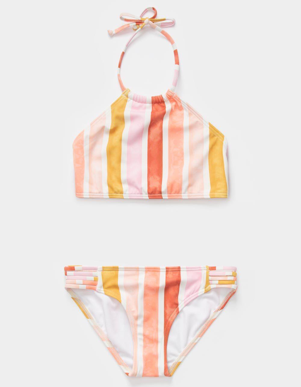 BILLABONG Striped High Neck Girls Bikini Set
