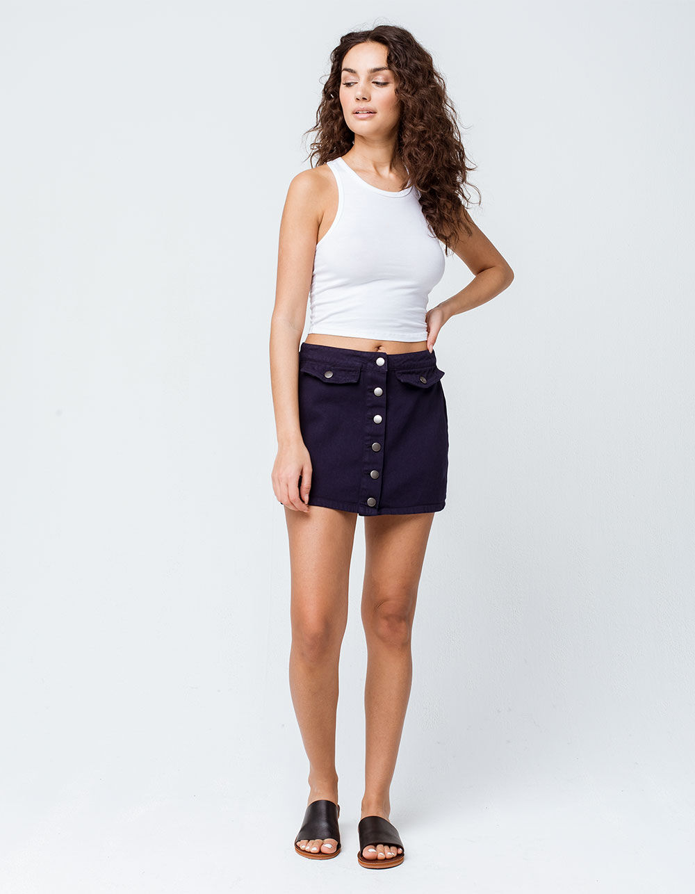 Image of COCO & JAIMESON BUTTON FRONT NAVY MINI SKIRT