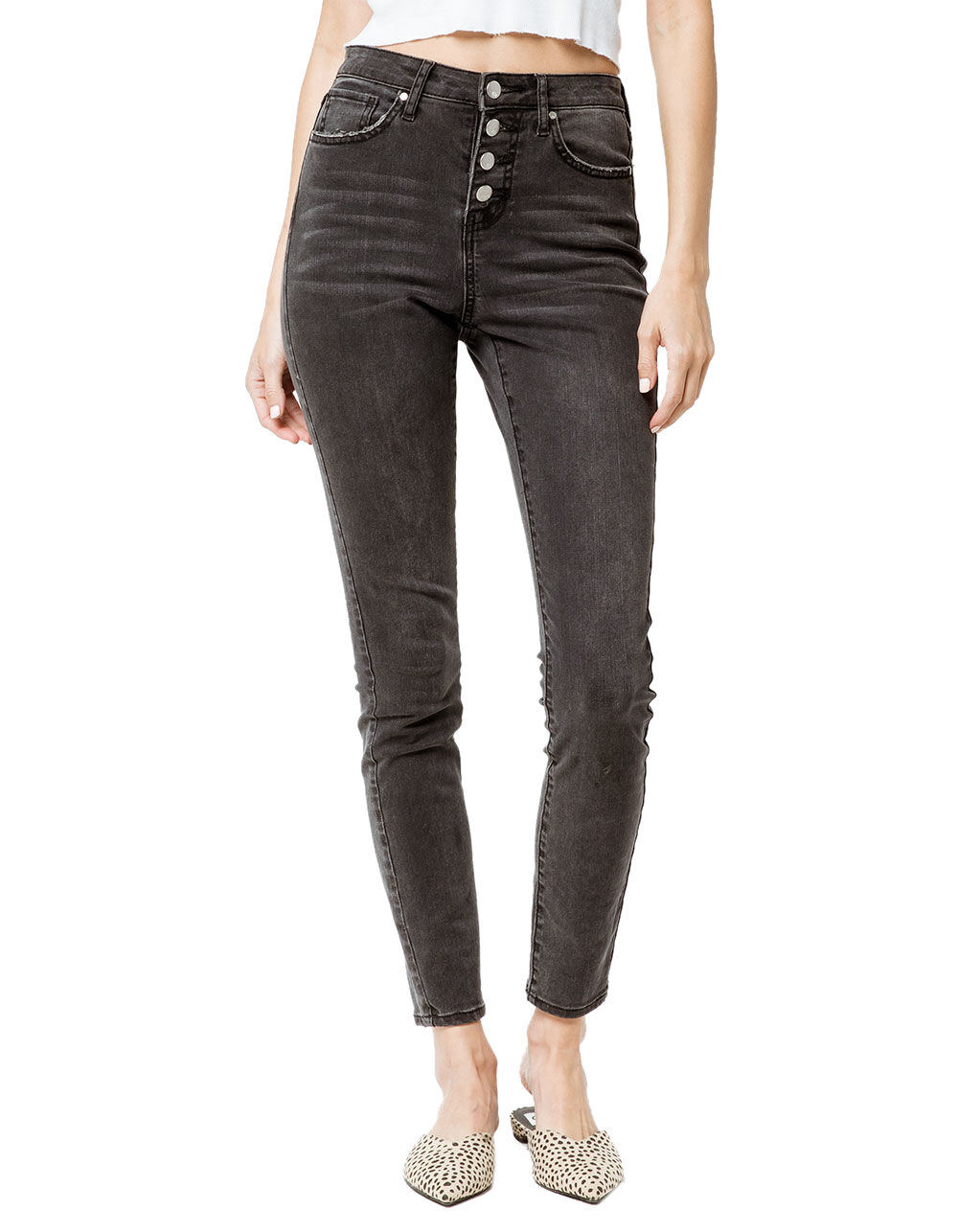 RSQ EXPOSED BUTTON MANHATTAN HIGH RISE SKINNY JEANS